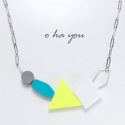 *o-ha-you*韓 KOREA NUANCE粉嫩系普普幾何方塊三角組合短項鍊-銀