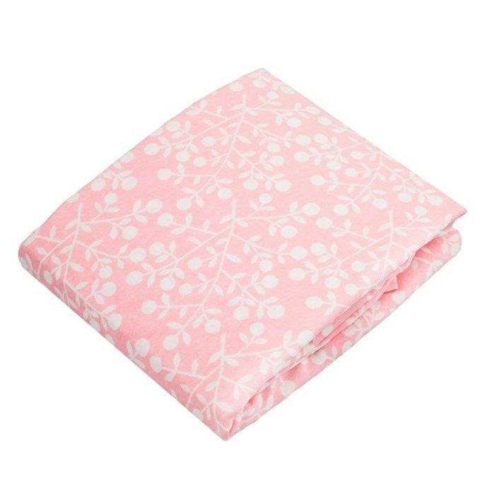 【兔寶寶部屋】Kushies加拿大進口-棉絨寶寶遊戲床床包-粉紅花紋 74x107cm
