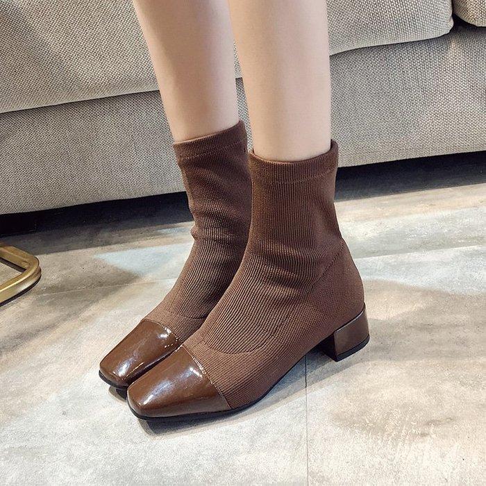 【時尚完美】高跟鞋18年冬季加棉加絨針織鞋女襪子靴中筒靴高跟鞋保暖顯瘦腿高幫女靴公主