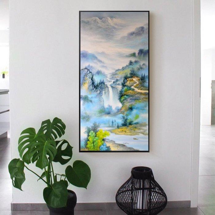 新中式現代噴繪水墨山水流水生財裝飾畫畫心玄關中堂客廳掛畫