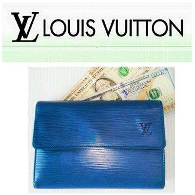 Louise Vuitton 經典款 LV 三折式 中夾 EPI 翻扣 錢包 皮夾 6卡 零錢袋  發財夾 有BV