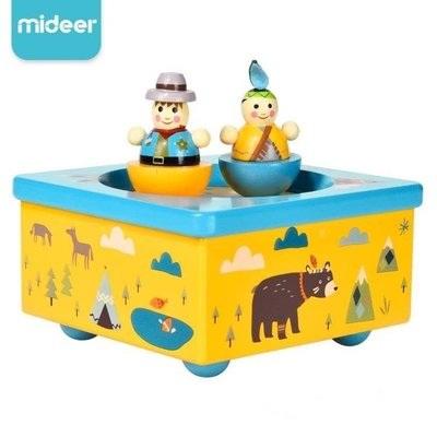 哆啦本鋪 音樂盒MIDEER彌鹿寶寶音樂盒兒童印第安八音盒木質旋轉跳舞音樂盒玩具D655