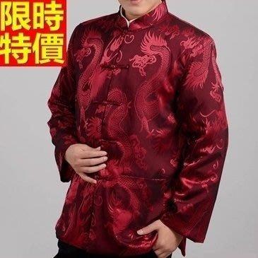 唐裝 中山裝 中式男裝(單上衣)-提花隱龍居家休閒中國風男西裝外套2色66ac42[上海進口][米蘭精品]