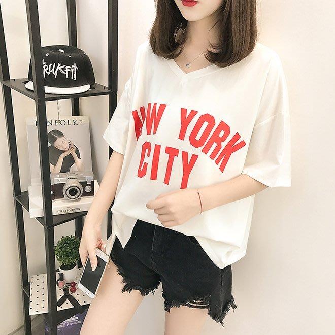 FINDSENSE G6 韓國時尚潮流 純棉白色V領T恤女短袖2019新款春夏寬鬆百搭半袖打底上衣