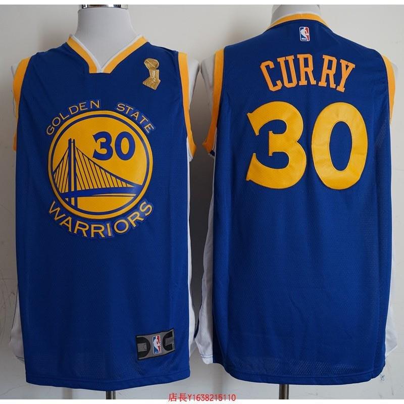 NBA球衣勇士冠軍版(新面料印花) 30號 藍色-胖胖購物
