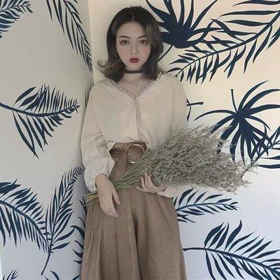 韓版復古兩件式套裝襯衫上衣長裙半身裙...