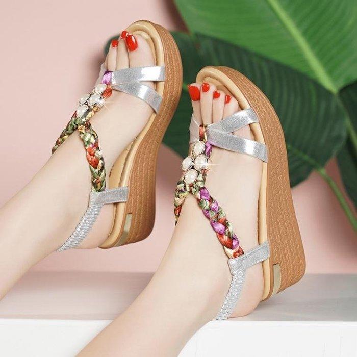 楔型鞋 涼鞋女坡跟厚底防水臺波西米亞涼鞋 -8%百分吧