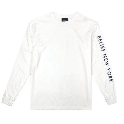 BELIEF SIDELINE L/S TEE WHITE 白色 長袖 紐約品牌 美國製