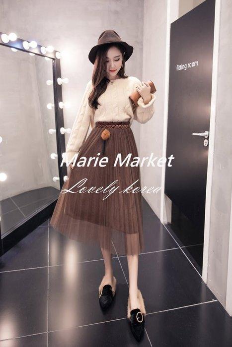 ☆ Marie Market ☆ 韓國訂單 網紗半身裙 時尚高腰百搭金絲絨長裙 女秋冬百褶裙