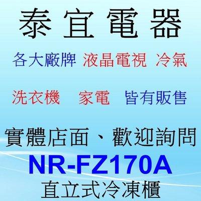 【泰宜】Panasonic 國際 NR-FZ170A-S 冷凍櫃 170公升【另有 NR-FZ250A】缺貨中請先洽