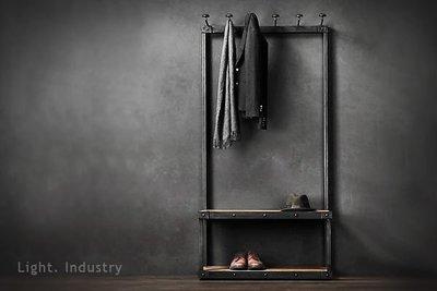 ~ 輕工業 ~復古掛鈎衣帽架實木穿鞋椅凳~工業風訂製訂作鐵製吊衣架餐廳酒吧服飾店展示架換鞋椅子長凳子