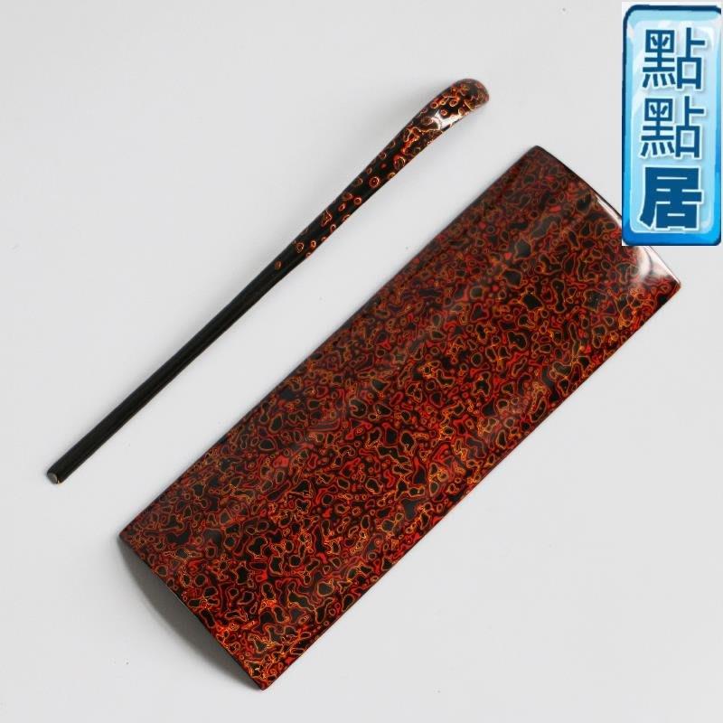 【點點居】手工雕刻精工犀皮漆大漆器賞茶荷茶則茶撥兩件套茶寵收藏茶道零配套裝竹製品DD011735