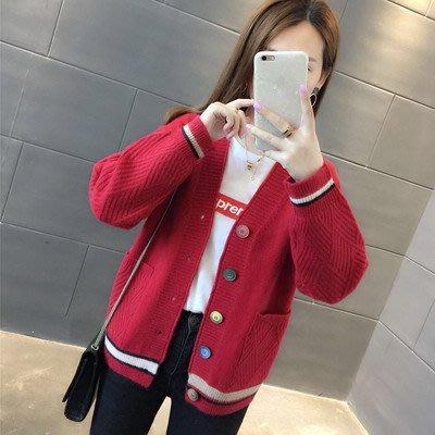 韓版學院風寬鬆V領外搭針織外套