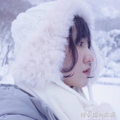 ZIHOPE 雙層加絨兔毛護耳毛線帽子女秋冬天保暖球球雷鋒帽韓版針織飛行帽ZI812