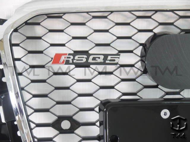 《※台灣之光※》全新外銷精品 AUDI奧迪Q5 12 13 14 15年新款RS RSQ5 款 改裝蜂巢電鍍框黑網水箱罩