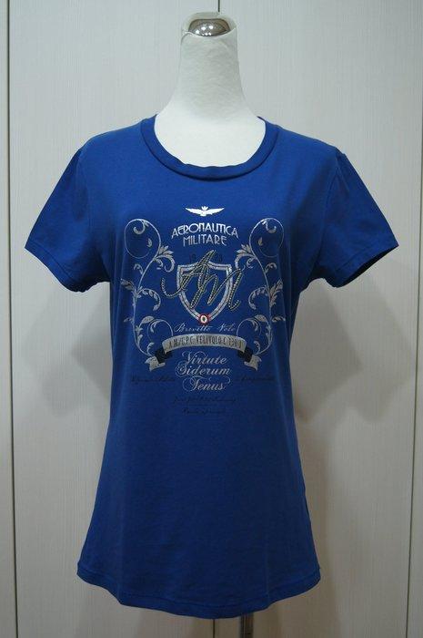 AERONAUTICA MILITARE    寶藍色水鑽字母圖短T恤   原價   10600   特價  5300