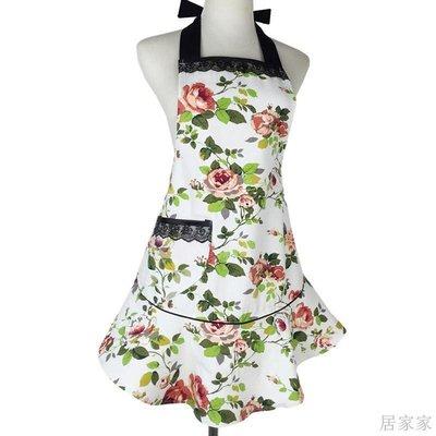 居家家 圍裙田園滌棉帆布蕾絲花邊裝飾廚房家務防臟污女成人訂製工作圍裙