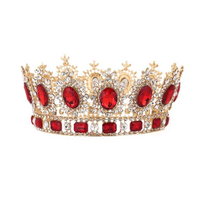 周可可 新娘歐式王妃大皇冠王冠新娘皇冠歐式復古圓形巴洛克滿冠婚紗配飾 ZC4907
