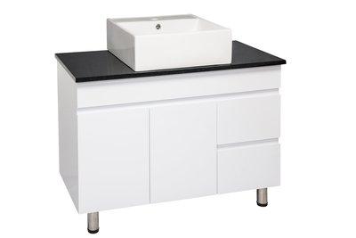 《檯上盆系列》 檯上盆 花崗石檯面 方盆 浴櫃 PVC發泡板 含龍頭 落地櫃【寬100*深48*高90cm 】