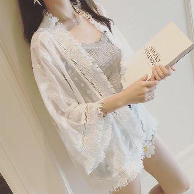防曬衣 防曬衣女新款女雪紡開衫夏泰國中長薄款流蘇超仙氣質甜美上衣   全館免運