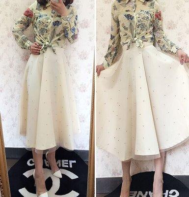 2015春季新款 韓國蕾絲釘珠赫本紗裙中長裙半身裙 黑色百搭蓬蓬裙