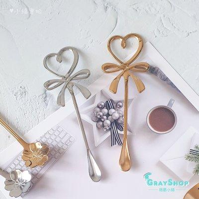 愛心蝴蝶結攪拌勺《GrayShop》不鏽鋼咖啡勺 造型小湯匙 甜點勺 美食攝影  拍照道具 攝影道具