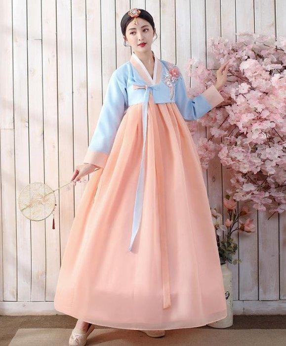 紫滕戀推出新款韓國古裝朝鮮族民族服裝傳統韓服女改良大長今舞臺舞蹈演出服-藍衣粉裙