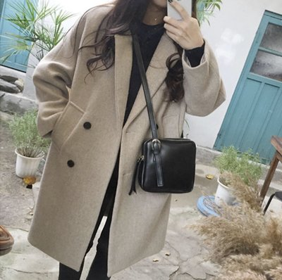 ✨日韓美著✨韓版寬鬆雙排扣大衣外套double-breasted coat