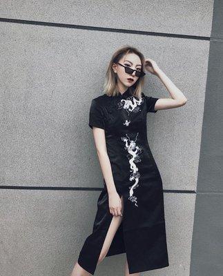 【黑店】原創設計訂製款暗黑改良旗袍 中國風龍刺繡中長旗袍 個性旗袍 訂製款旗袍 可量身訂做 OT120