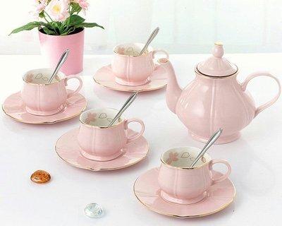 皇家粉色鬱金香骨瓷下午茶組一壺四杯四盤...