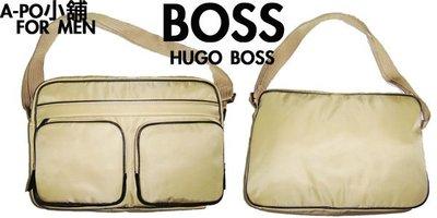 A-PO小舖 BOSS HUGO BOSS 上班休閒肩側斜背包 卡其色+黑色邊 全新品 特價 8000