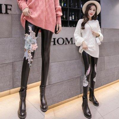 皮褲子女新款顯瘦緊身長褲秋季薄款亞光高腰PU外穿打底九分褲