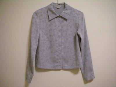 二手百貨專櫃正品  WANKO   氣質藍灰色柔緞亮紋花葉兩穿法別緻褶縫式襯衫領長袖上衣