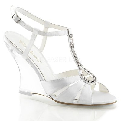 Shoes InStyle《四吋》美國品牌 FABULICIOUS 原廠正緞面水鑚透明楔型高跟涼鞋 出清『白色』