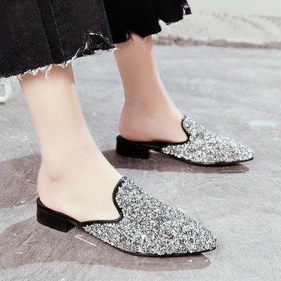 2018春夏新款社會女鞋子尖頭百搭包頭拖鞋平跟懶人鞋穆勒鞋