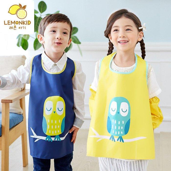 【Kathie Shop】韓國品牌 兒童可愛貓頭鷹畫畫衣防水反穿衣吃飯衣圍兜罩衣 六色