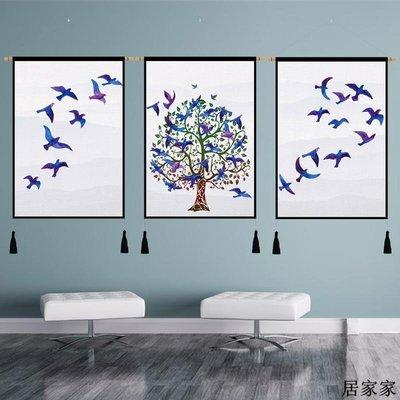 掛布 背景裝飾 掛毯 掛畫布藝 發財樹客廳裝飾畫歐式三聯畫大氣高檔餐廳墻面掛畫沙發背景墻壁畫