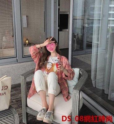 DS_08網紅時尚李雨薇紅色格子襯衫+網紅t恤+米白色長褲三件套快手網紅休閑套裝