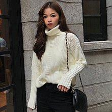 韓版粗針純色高領百搭毛衣