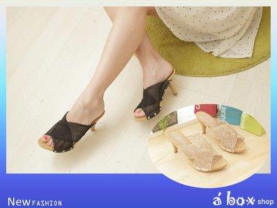 格子舖*【AL9999】零碼36.37.38.39 盛夏新作‧波西米亞風情‧網狀編織木跟拖鞋