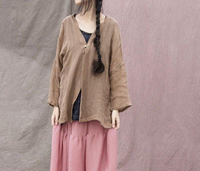 【子芸芳】原創設計 苧麻紗清透防曬一粒扣短開衫外套