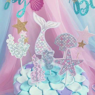 Party time ~夢幻海洋美人魚貝殼套餐蛋糕裝飾插旗