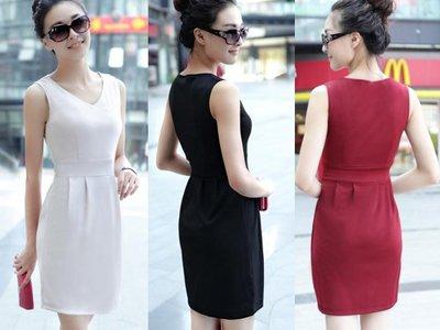 超哥小舖【D4020】韓版素面簡約風 V領純色百搭顯瘦縮腰無袖連身裙 腰身裙擺背心洋裝