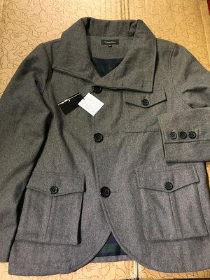 [變身館日本服飾]~Suggestion~西裝~格紋~短大衣~毛料~外套~立領~保暖~日本購入~全新現品~L~灰