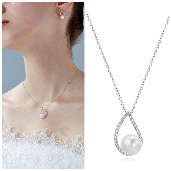 【韓Lin連線代購】韓國 HAESOO.L 海秀兒 - JM1046 925銀 設計師款造型鑲鑽珍珠項鍊