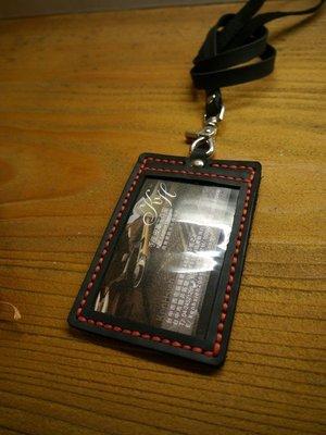 (KH手工皮件台中)牛皮直式識別證皮套含可拆式頸掛帶.前後各一夾層.信用卡名片證件可放皮革縫線配色可自選.免費燙字.
