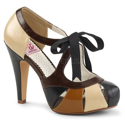 Shoes InStyle《四吋》美國品牌 PIN UP CONTURE 原廠正品拚色厚底高跟鞋 有大尺碼『黑咖啡駝色』