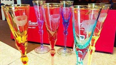歐洲皇室御用-摩瑟水晶(Moser)- PAULA(寶菈)系列彩色香檳杯水晶杯組(2入)(附盒,保證書)(波西米亞水晶