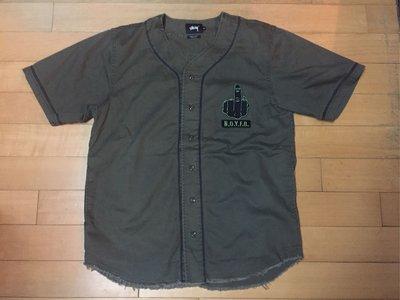 已絕版稀有Stussy x UNION baseball shirt軍裝重磅棒球衫