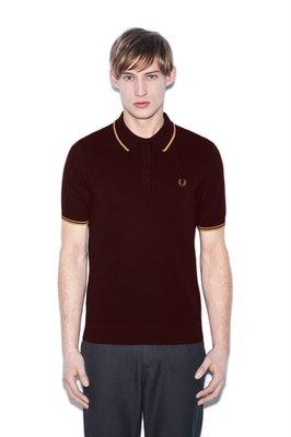 (預購商品) fred perry 酒紅色 黃色 槓飾 LOGO 合身 短袖 素面 針織 POLO衫